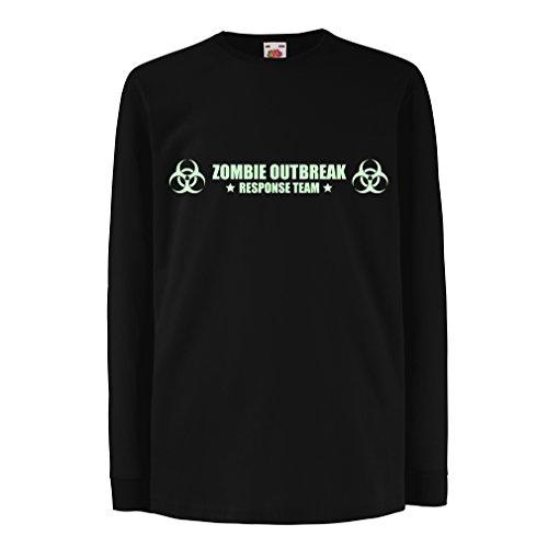 lepni.me N4519D Kinder-T-Shirt mit langen Ärmeln Zombie Outbreak Response Team (5-6 years Schwarz Fluoreszierend)