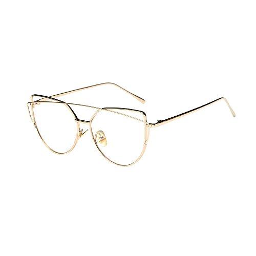 WooCo Pilotenbrille für Herren Damen Polarisiert, Heißer Verkauf Fashion Twin-Beams Classic Metallrahmen Cat Eye Brillen Sonnenbrillen Brillen(B-Gold,One size)