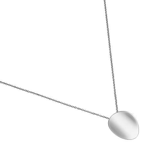 Heideman Halskette Damen Discus aus Edelstahl Silber farbend poliert Kette für Frauen mit Anhänger Scheibe glänzend Made in Germany silberfaben poliert hc809-3