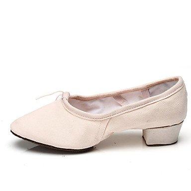 Ruhe @ Damen Tanzschuhe Ballett für Lehrer Praxis Schuhe Leinwand flach Ferse schwarz/pink/rot Schwarz
