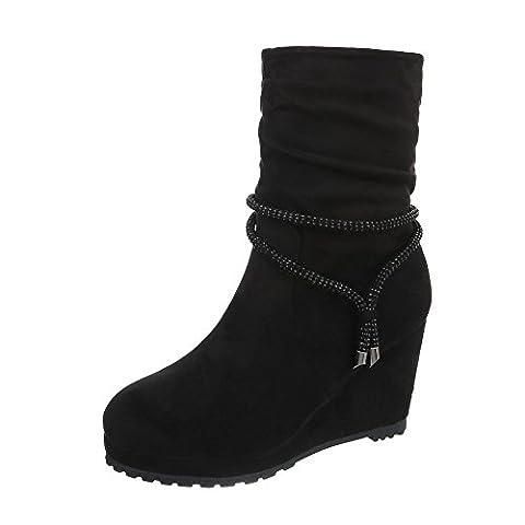 Keilstiefeletten Damen-Schuhe Plateau Keilabsatz/ Wedge Keilabsatz Reißverschluss Ital-Design Stiefeletten Schwarz, Gr 40, (Keilabsatz Schwarz)