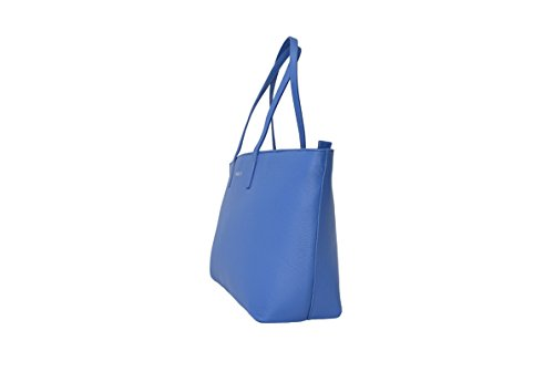 BORGENNI capiente e morbida borsa shopper da donna in vera pelle con due manici piatti e chiusura con zip Blue