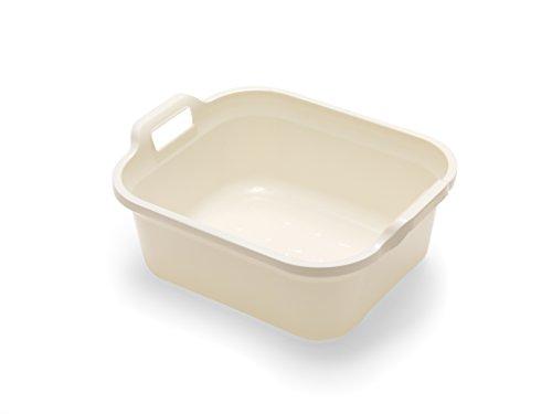 ADDIS Bassine rectangulaire avec poignées, Plastique, Lin crème, 39 x 32 x 14 cm