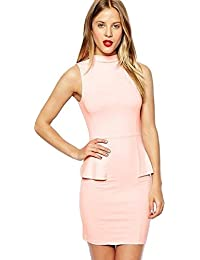 1741287ab909 ASOS Peach Pink Sleeveless Mini Dress with High Neck and Peplum Size 14