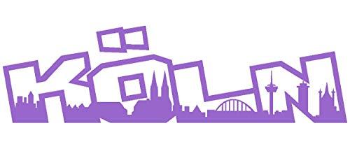 Lavendel Köln (Samunshi® Köln Schriftzug Skyline Aufkleber in 8 Größen und 25 Farben (30x8,5cm lavendel))