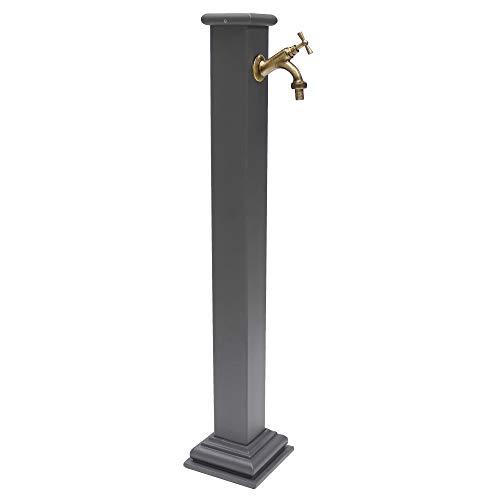 Fontana a colonna in ghisa e acciaio con rubinetto in ottone bronzato per esterno casa giardino modello sidney