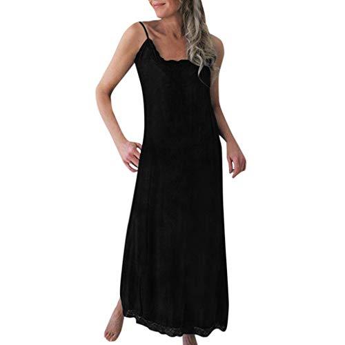 Kasee Femmes Sexy Robe Longue en Lin Coton Ete Boheme Couleur Unie Confortable Élégant Pin-up Robes sans Manches Casual Beachwear Robe Jupe Droite