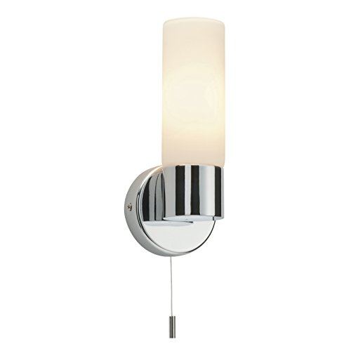 Wall light with pull cord amazon saxby pure 40w single modern decorative pull cord chrome matt opal duplex glass bathroom wall light mozeypictures Gallery