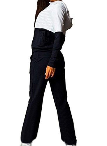Autunno Inverno Donne Casual Tuta da Ginnastica 2 Pezzi Manica Lunga Sport Fitness Jogging Pantaloni Felpa con Cappuccio Cappotto Giacca Nero