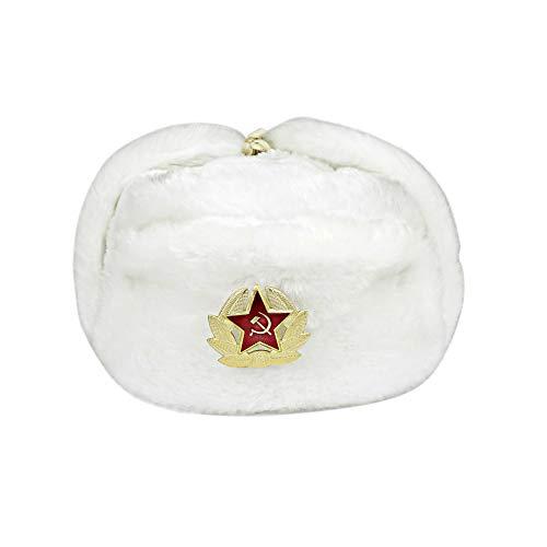 Heka Naturals Russischer Hut Uschanka mit Kokarda Pin Großer sowjetischer Unions-Militärhut EU-UD (Weiß, 58)
