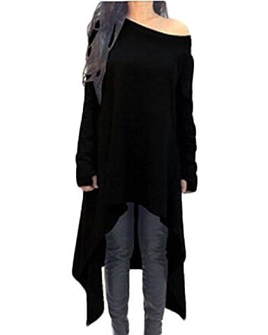 ZANZEA Women's Sexy Casual Spring Loose Long Sleeve Asymmetric Knit Jumper Dress Plus Size Black S
