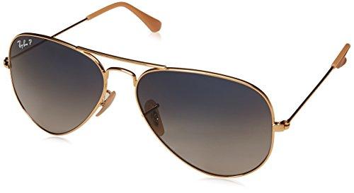 Ray Ban Unisex Sonnenbrille Aviator, (Gestell: Gold, Gläser: blau-Grauer Verlauf, polarisiert 001/78), Large (Herstellergröße: 58)