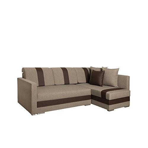 Mirjan24  Ecksofa Alba Design Eckcouch mit Schlaffunktion und Bettkasten, Funktionssofa Bettsofa L-Form Sofa Couch Wohnlandschaft! (Inari 26 + Cayenne 1113, Ecksofa: Rechts)