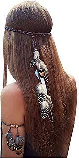 Set von 2 Gypsy Hippie Feder Haarband Kopfschmuck und Armband Bohemian mit (A#)