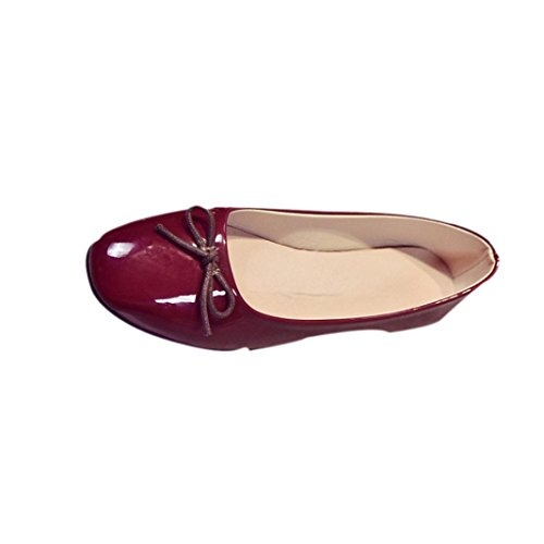 Bowknot Erbsenschuhe Damen, DoraMe Frauen Slip On Einzelnen Schuhe Mode Loafers Frühling Neue Casual Flache Schuhe Elegant Bequeme Slipper Runden Flacher Mund Espadrilles (39, Weinrot) (Rote Ballerinas Glitzer)