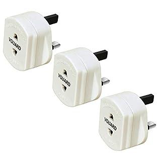 VGUARD [3 Stück] UK Reiseadapter, GB England 2 Pin auf 3 Pin 1A Sicherung Elektrischer Rasierer Electric Shaver Razor Adapter Stecker Toothbrush Zahnbürste Plug Steckdose Konverter - Weiß