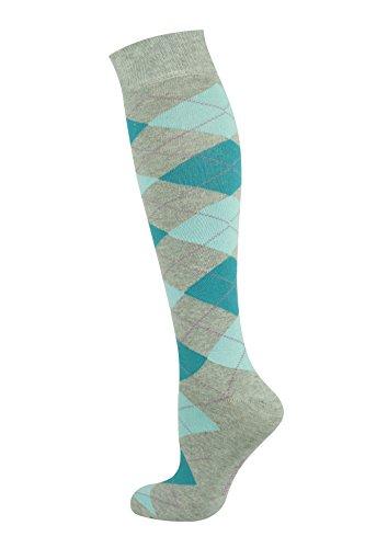Mysocks® Kniehohe Argyle Socken Minze Türkis auf Asche