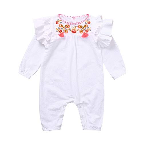 WFRAU Baby Strampler Mädchen Einfarbig Blumenstickerei Rüschen-Kurzarm Overalls Schlafanzug Säugling Spielanzug Baby-Nachtwäsche Hosen Tops Jumpsuit Outfit Bodysuit