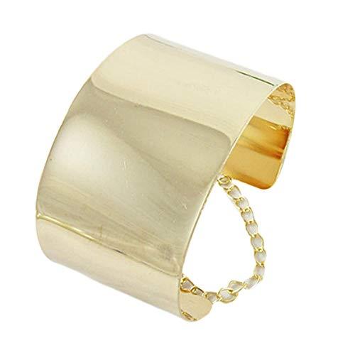 aozuzizhixianbam Armreif für Damen und Mädchen, elegant, wundervolles Geschenk, breiter Spiegel, metallisch silberfarben und goldfarben