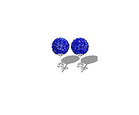 925 Sterling Silver Dark Blue Crystal Ball Stud Earrings With Zircon crystal