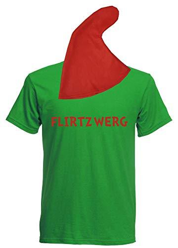 aprom Zwergen T-Shirt Kostüm mit Mütze div. Motive zur Auswahl - Fasching JGA Sheriff Gruppenkostüm Karneval Zwerg (XL, Grün - - Kid Cowboy Kostüm