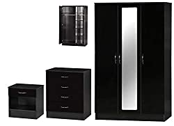 Alpha High Gloss Two Tone Triple Mirrored Set, Wood, Black, 180.5 x 110 x 51.5 cm