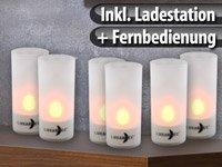 6 LED-Akku-Teelichte mit Acrylgläsern, Ladestation & Fernbedienung von Lunartec bei Lampenhans.de