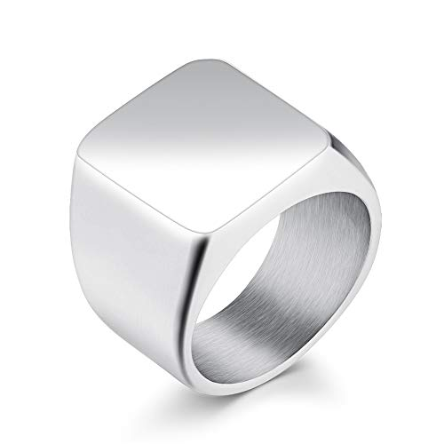 Kefaith Herren Edelstahl Biker Square Klassische Ringe Band Ehemann Vater Geschenk für Männer (Farbe : Grau, Size : 7) (Square Band Ring)