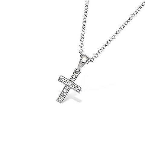 Petite Croix Argent - Pendentif en Argent 925/000 Rhodié et Oxyde