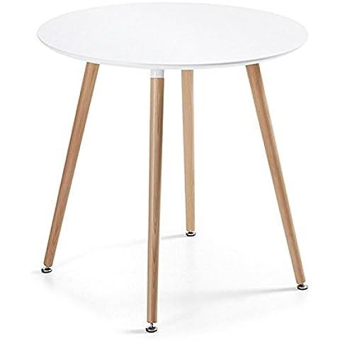 Diseño de la mesa redonda de comedor blanco - Alta