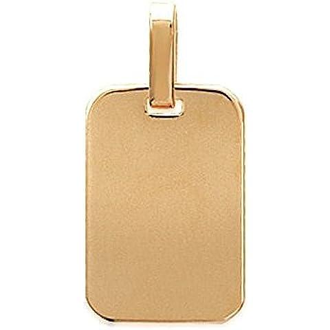 Ciondolo placcato oro da uomo/donna, larghezza: 14 mm, altezza: 21 mm, placcati oro (rettangolare) con incisione in omaggio
