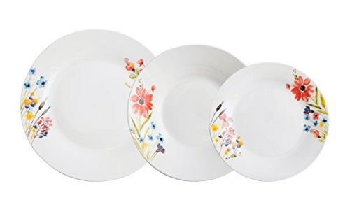 Quid Bouquet Vajilla de 18 Piezas, Cerámica, Multicolor, 29x20x29 cm