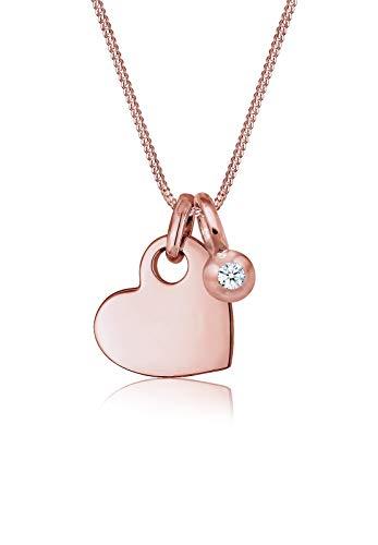 Elli Premium Damen Halskette mit Herz Anhänger Solitär Diamant (0.03ct) in 925 Sterling Silber - 45cm Länge