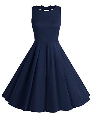 BeryLove Frauen Vintag 50s Polka Dot Bowknot Retro Swing Cocktailparty Kleid BLV8001 Navy XL
