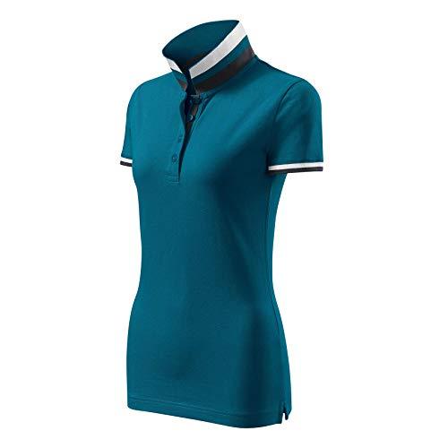 Modisches Damen Poloshirt Collar Up - Super Premium Stoff & Shirt Schnitt | 100% Baumwolle | S - XXL (257-Türkis-L) -