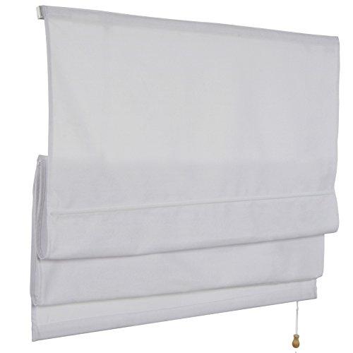 MIADOMODO Raffrollos in weiß oder beige Raffgardine Faltrollo Rollo Fenster Gardine Blickdicht Faltvorhang in sechs verschiedenen Größen