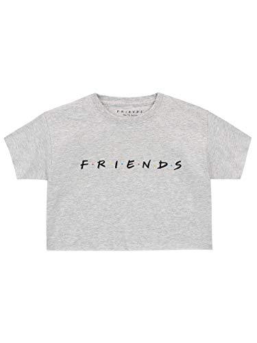 Friends Camiseta de Crop de Manga Corta para Niñas Gris 12-13 Años