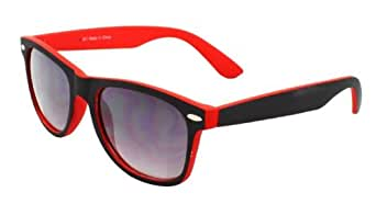 4sold (TM) New Two Tone Red & Black Classic Unisex (Mens, Womens) Geek Style retro 1980's Fashion Sunglasses with Smoked Lenses Offering Full UV400 Protection plus extra free black cloth