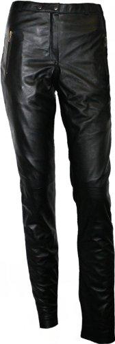 Damen Lederhose aus Lammnappa Leder Leggings mit spandex echtleder Hose schwarz, Größe:L