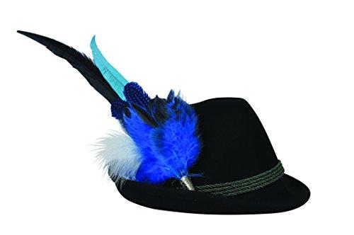 Modische Trachtenfeder mit blauen Akzenten. Bayerischer Schmuck für den Hut passend zum Dirndl oder Lederhose