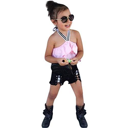 Kobay Baby Kleidung Set Mädchen Sommer Kleinkind Kind Baby Mädchen Rüschen Schulterfrei Tops + Shorts Hosen Outfits Set Kleidung(12-18M,Rosa) (Rüsche Weiße Hose Kleinkind)