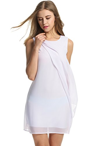 Meaneor Damen Chiffonkleid Brautjungfernkleid Cocktail Abend Kleid Prinzessin Hochzeit Kleid Ärmellos Weiß