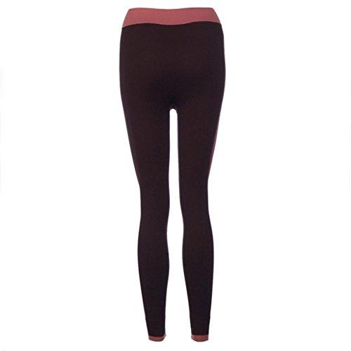Pantalon de Yoga femmes,Jimma Femmes Yoga Leggings Fitness pantalon d'entraînement Gym Patchwork Sports pantalon Vin rouge