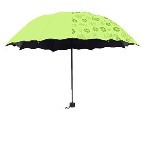 SONGSH Regenschirm Schwarzer Kunststoff-Taschenschirm UV-beständiger Regenschirm Aus Eisen Mit Doppeltem Verwendungszweck Windabweisender Glasfaserdurchmesser 98 cm Grün Regenschirm (Beständig Non-slip-fünf)