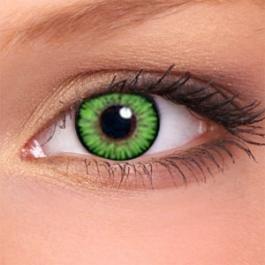2 Grüne Kontaktlinsen + GRATIS Behälter für farbige Kontaktlinsen - Bis zu 12 Monate verwendbar Grüne Kontaktlinsen ohne Stärke mit sehr guter Deckkraft