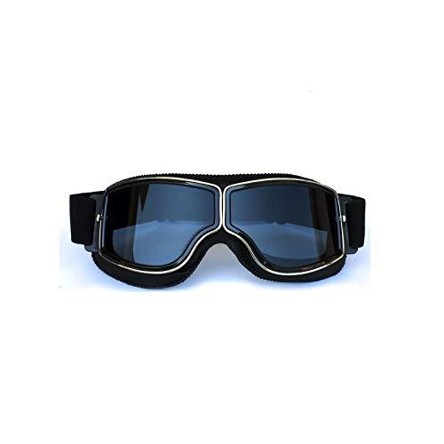 Adisaer Männer Sonnenbrille Retro Helm Schutzbrillen Lokomotive Offroad Motorrad Schutzbrillen Retro Schutzbrillen Gläser Reiten Black Gray Damen Herren