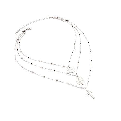Blisfille Ketten Silber Damen Halsband Damen Kette Versilbert Jungfrau Maria Münze Kreuz Rund 45 cm