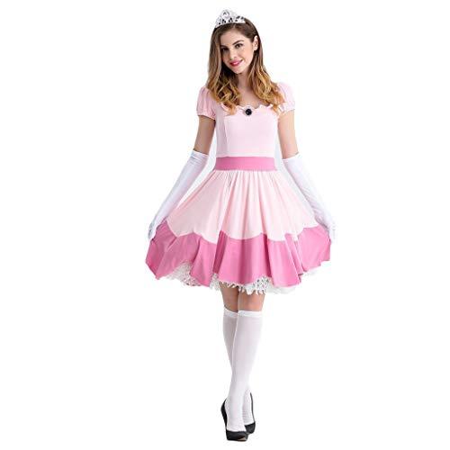 QWEASZER Schneewittchen Kleiderkleidung Rollenspiel Uniform, Vergnügungspark Schneewittchen Rollenspiel Uniform, Halloween Party Makeup - Für Halloween Schneewittchen Make-up