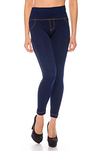 Kendindza Mujer Leggings térmicos para Jeans-Look forrado con interior de polar básico opaco...