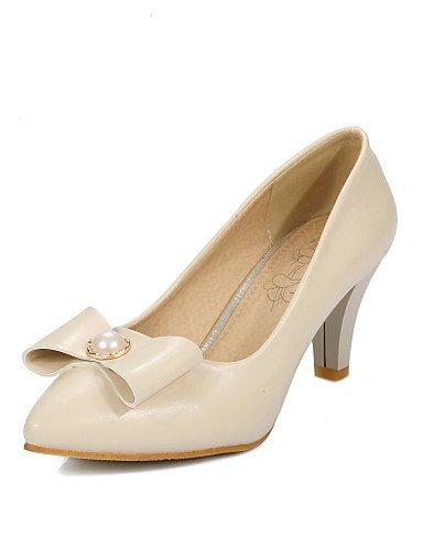 WSS 2016 Chaussures Femme-Bureau & Travail / Décontracté-Noir / Rose / Blanc / Beige-Talon Cône-Talons / Confort / Bout Pointu-Talons-Cuir Verni / black-us6.5-7 / eu37 / uk4.5-5 / cn37